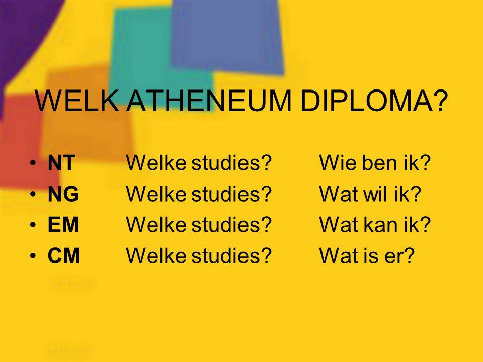 WELK ATHENEUM DIPLOMA NT Welke studies Wie ben ik