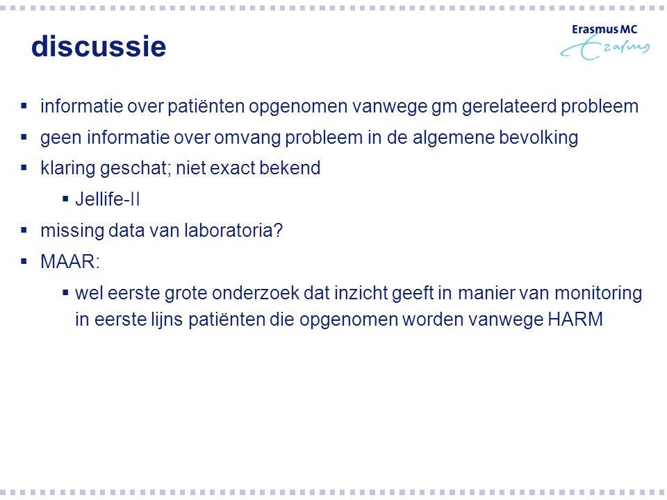 discussie informatie over patiënten opgenomen vanwege gm gerelateerd probleem. geen informatie over omvang probleem in de algemene bevolking.