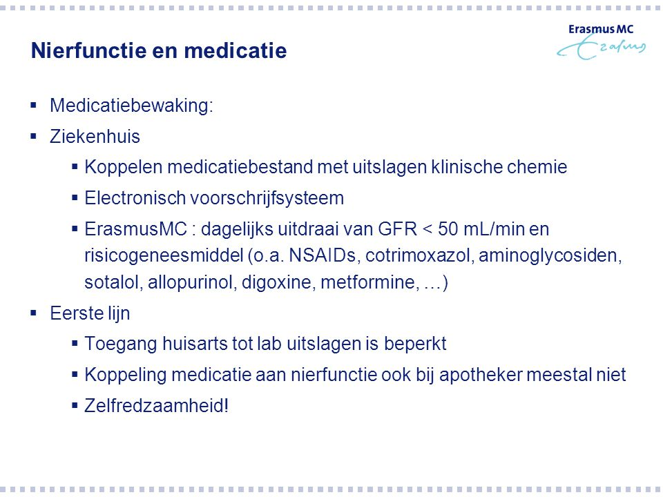 Nierfunctie en medicatie