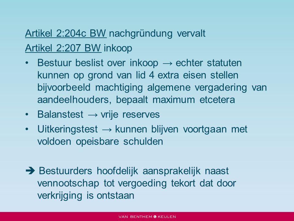 Artikel 2:204c BW nachgründung vervalt