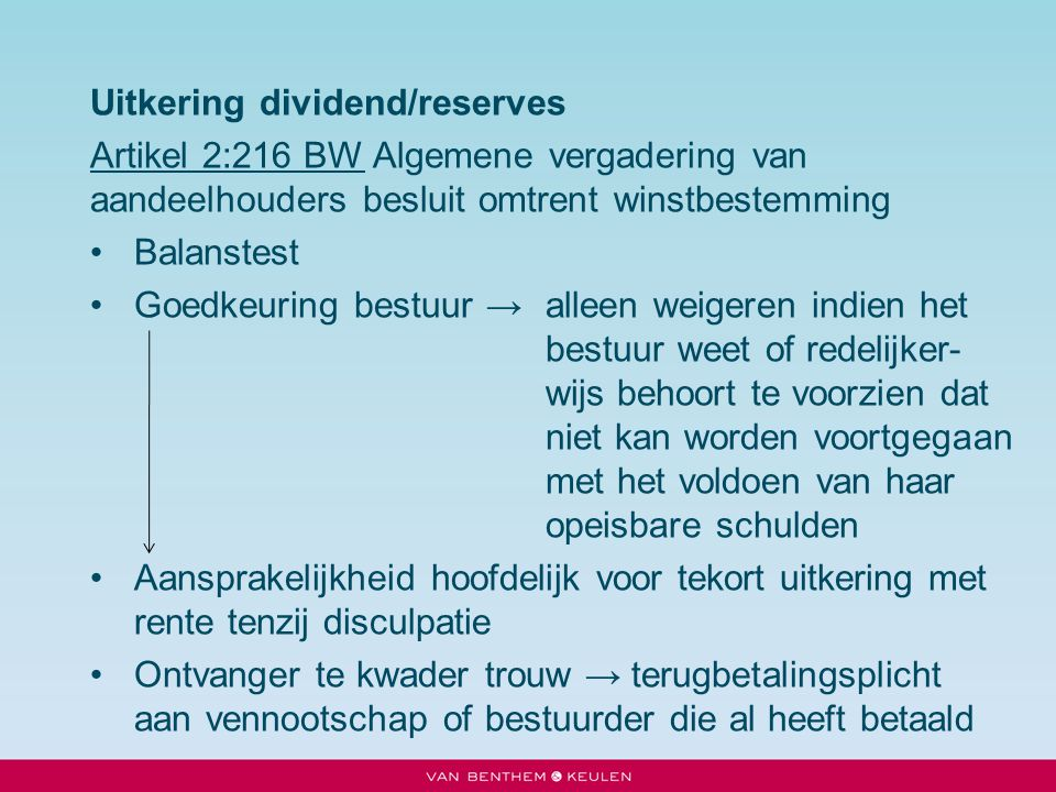 Uitkering dividend/reserves