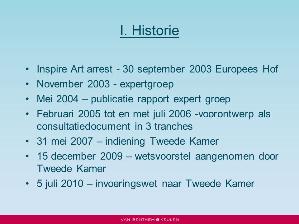 I. Historie Inspire Art arrest - 30 september 2003 Europees Hof