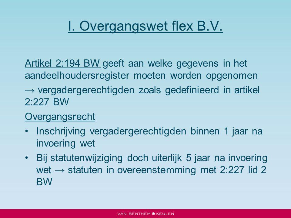 I. Overgangswet flex B.V. Artikel 2:194 BW geeft aan welke gegevens in het aandeelhoudersregister moeten worden opgenomen.