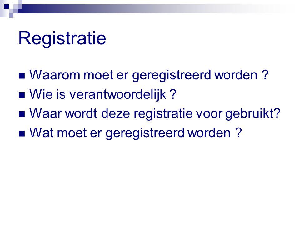 Registratie Waarom moet er geregistreerd worden