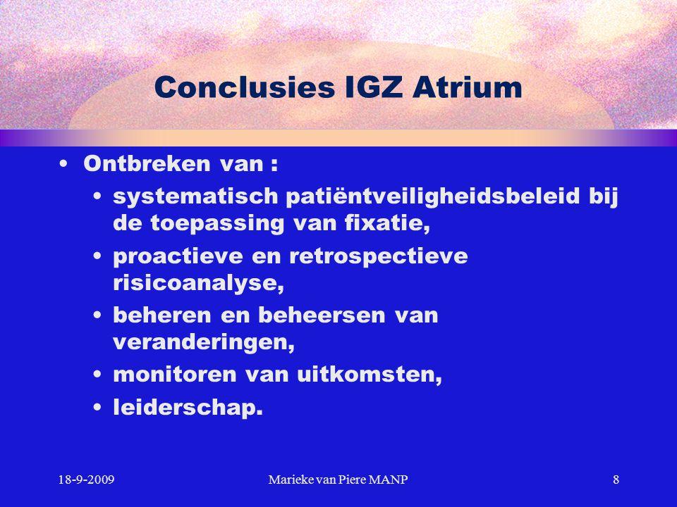 Conclusies IGZ Atrium Ontbreken van :