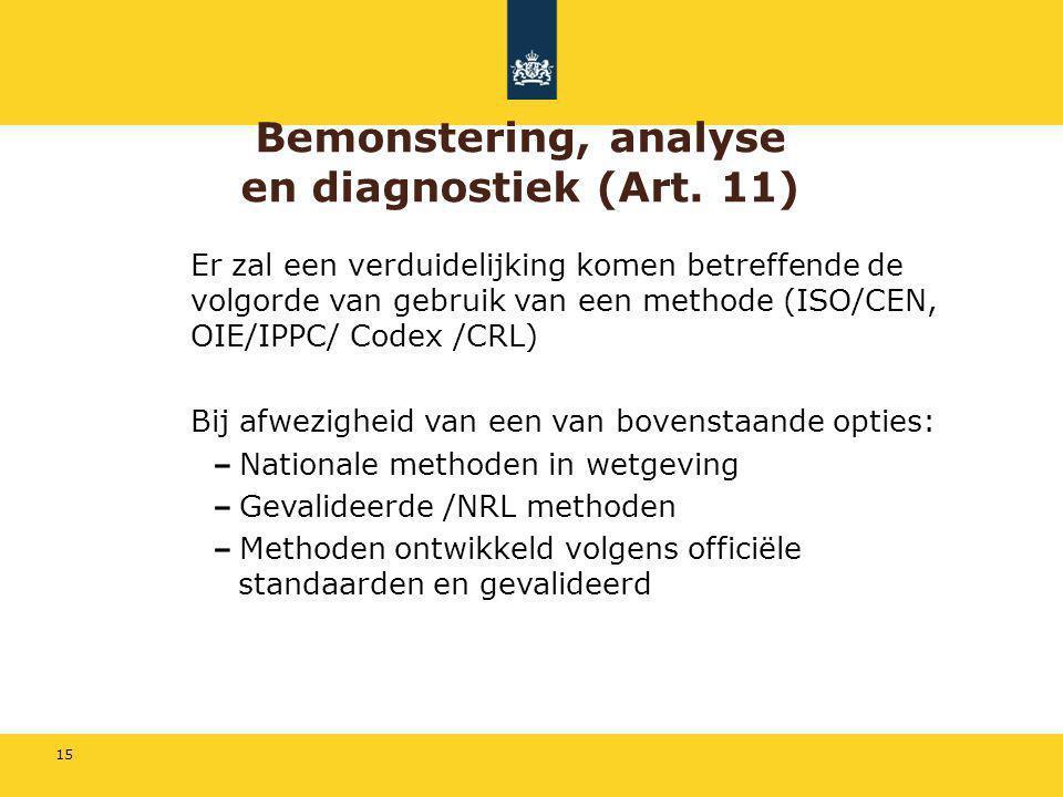 Bemonstering, analyse en diagnostiek (Art. 11)