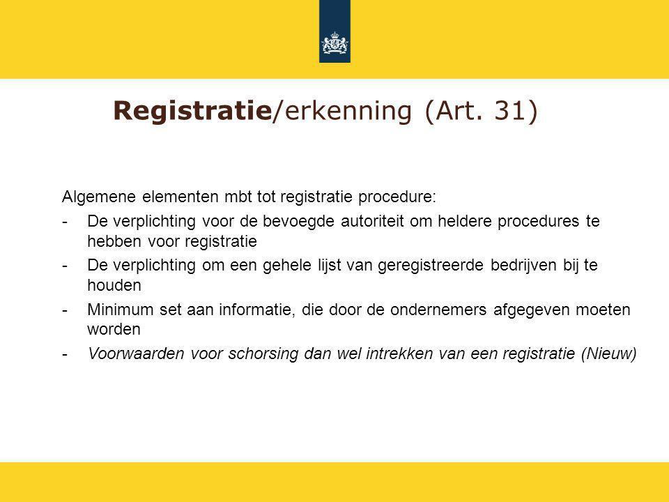 Registratie/erkenning (Art. 31)