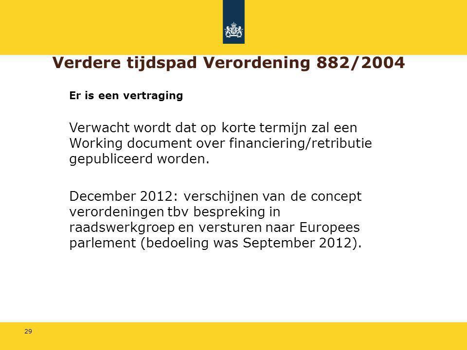 Verdere tijdspad Verordening 882/2004