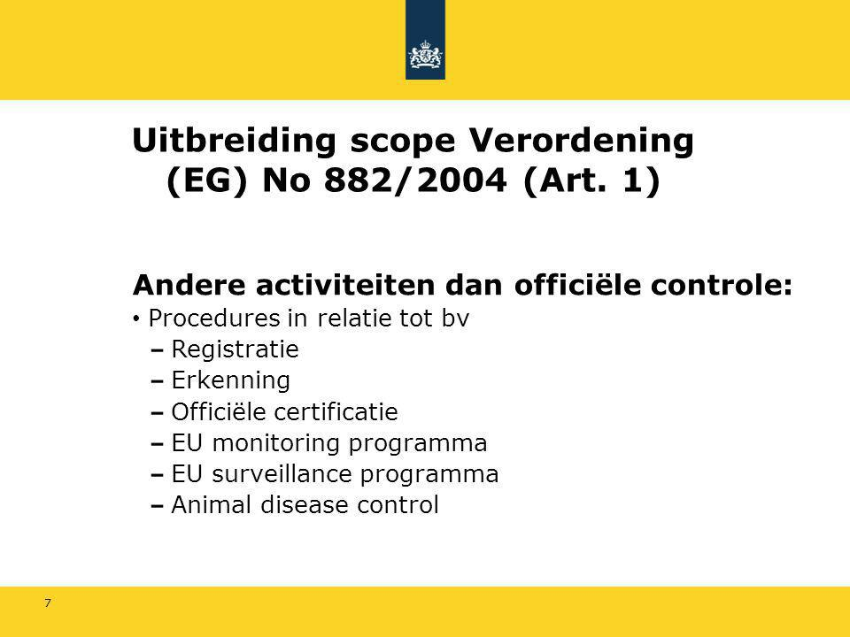 Uitbreiding scope Verordening (EG) No 882/2004 (Art. 1)