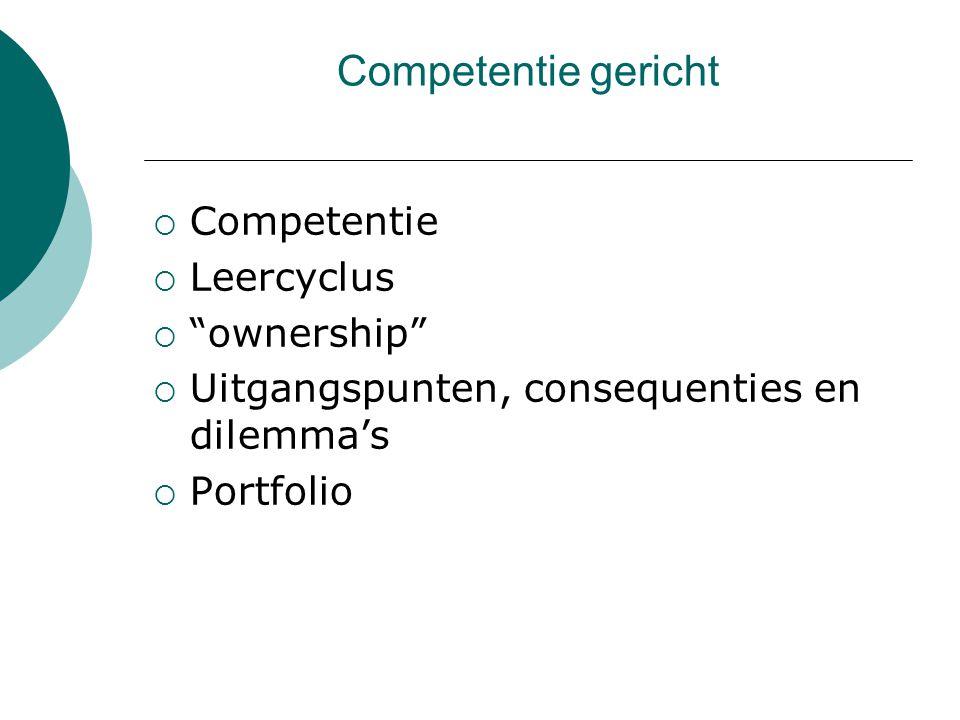 Competentie gericht Competentie Leercyclus ownership