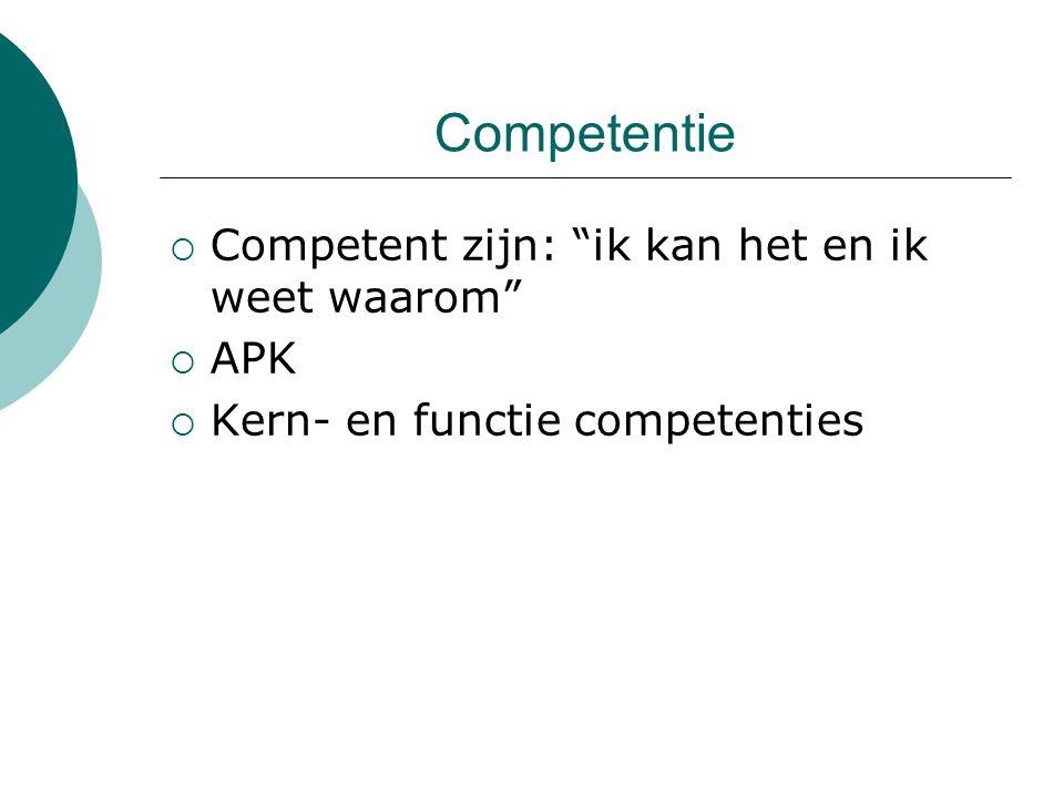 Competentie Competent zijn: ik kan het en ik weet waarom APK