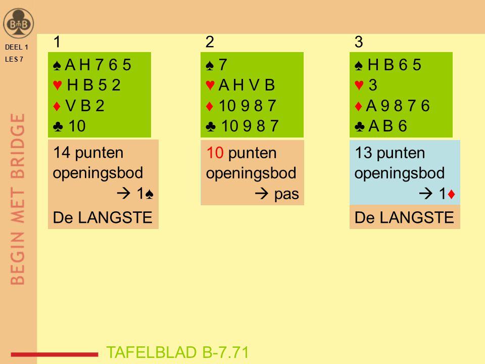 1 2. 3. DEEL 1. LES 7. ♠ A H 7 6 5. ♥ H B 5 2. ♦ V B 2. ♣ 10. ♠ 7. ♥ A H V B. ♦ 10 9 8 7.