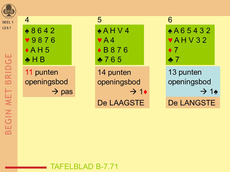 4 5. 6. DEEL 1. LES 7. ♠ 8 6 4 2. ♥ 9 8 7 6. ♦ A H 5. ♣ H B. ♠ A H V 4. ♥ A 4. ♦ B 8 7 6.