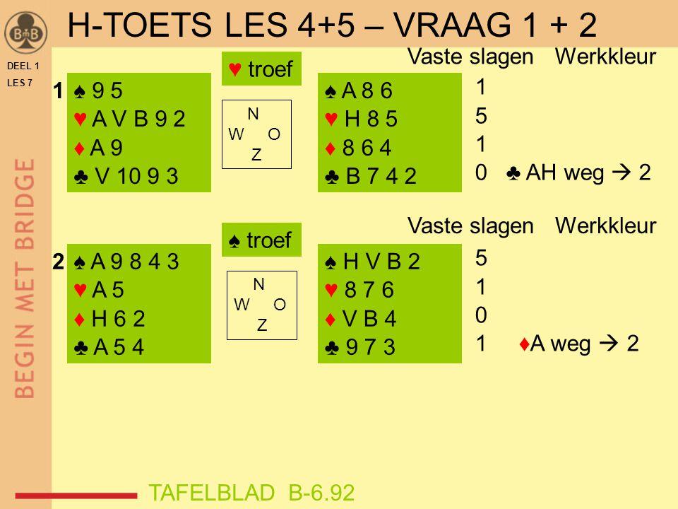 H-TOETS LES 4+5 – VRAAG 1 + 2 1 5 0 ♣ AH weg  2