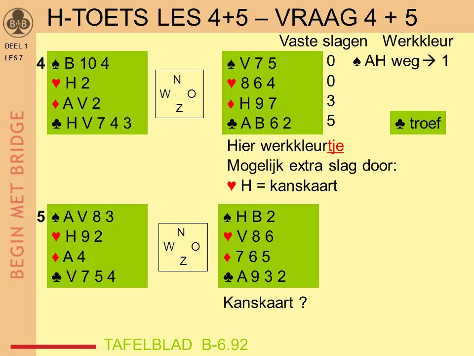 H-TOETS LES 4+5 – VRAAG 4 + 5 Vaste slagen Werkkleur 0 ♠ AH weg  1 3