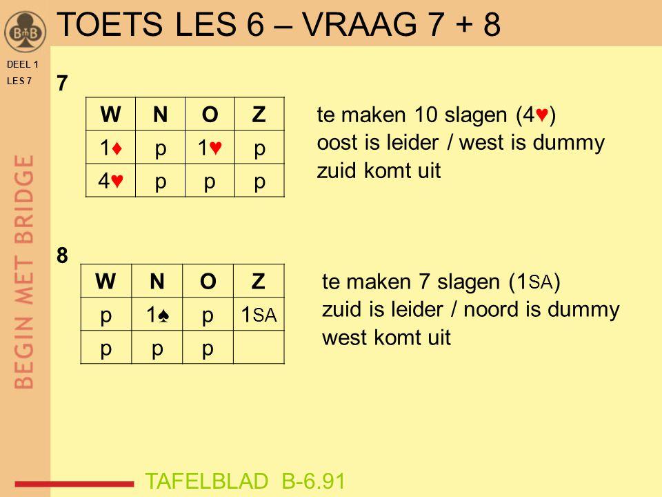 TOETS LES 6 – VRAAG 7 + 8 7 W N O Z 1♦ p 1♥ 4♥ te maken 10 slagen (4♥)