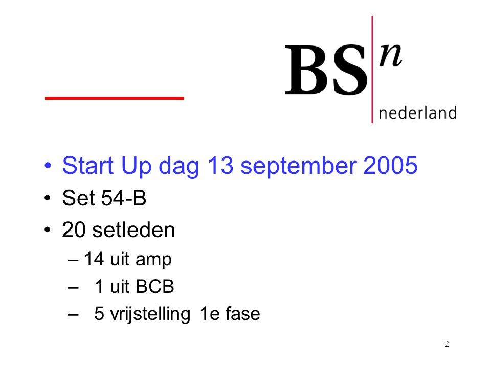 Start Up dag 13 september 2005 Set 54-B 20 setleden 14 uit amp