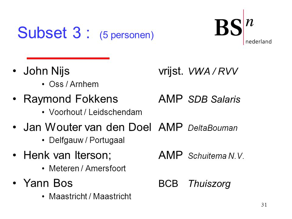 Subset 3 : (5 personen) John Nijs vrijst. VWA / RVV