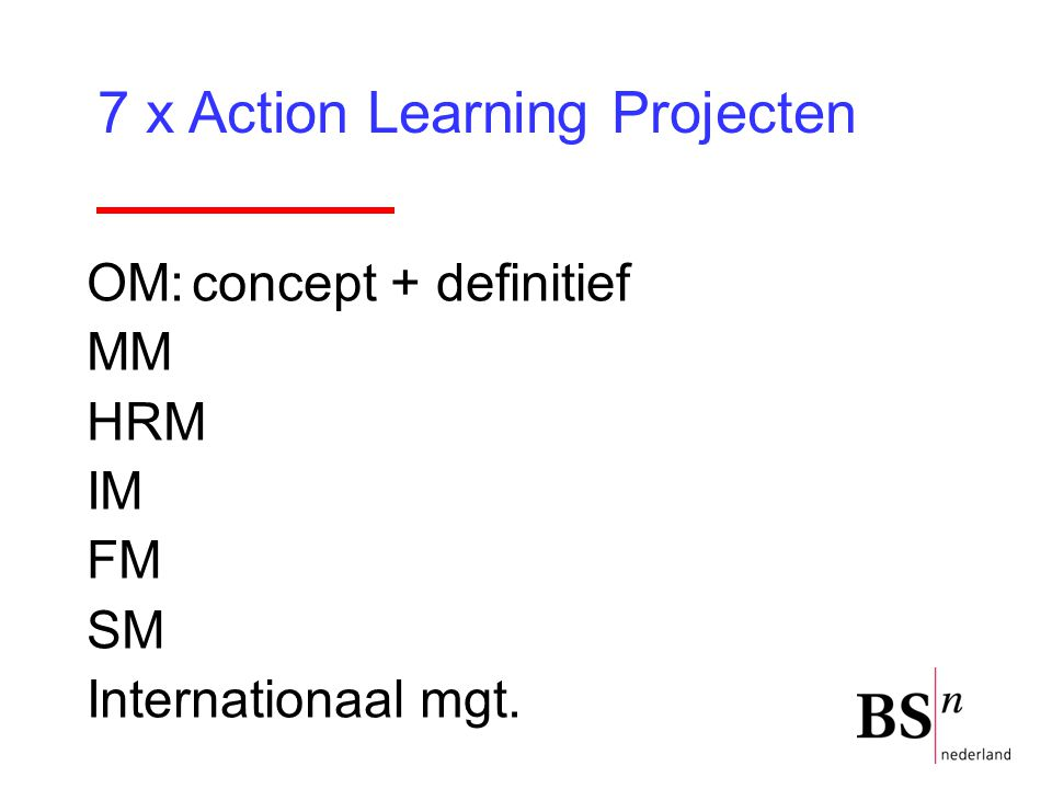 7 x Action Learning Projecten