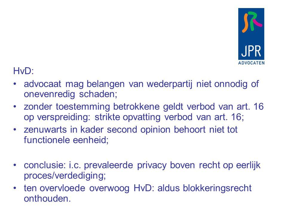 HvD: advocaat mag belangen van wederpartij niet onnodig of onevenredig schaden;