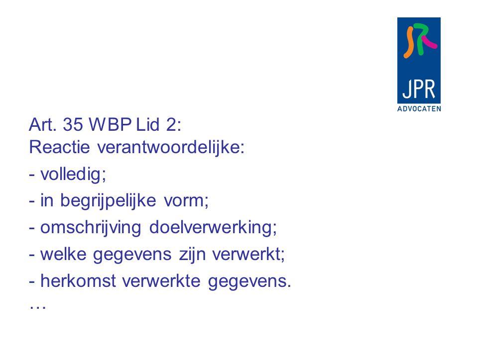 Art. 35 WBP Lid 2: Reactie verantwoordelijke: