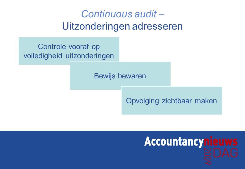 Continuous audit – Uitzonderingen adresseren