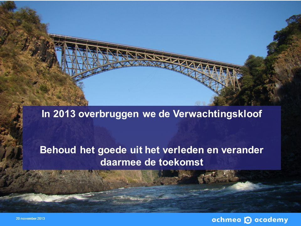 In 2013 overbruggen we de Verwachtingskloof