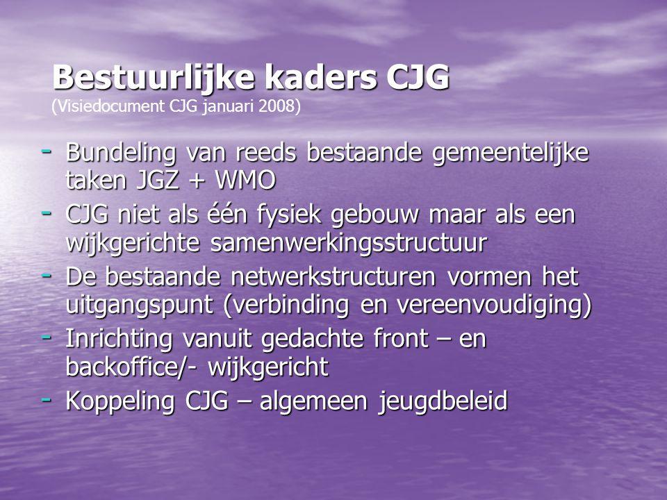 Bestuurlijke kaders CJG (Visiedocument CJG januari 2008)