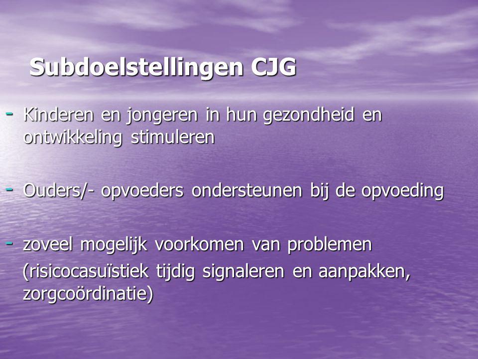 Subdoelstellingen CJG