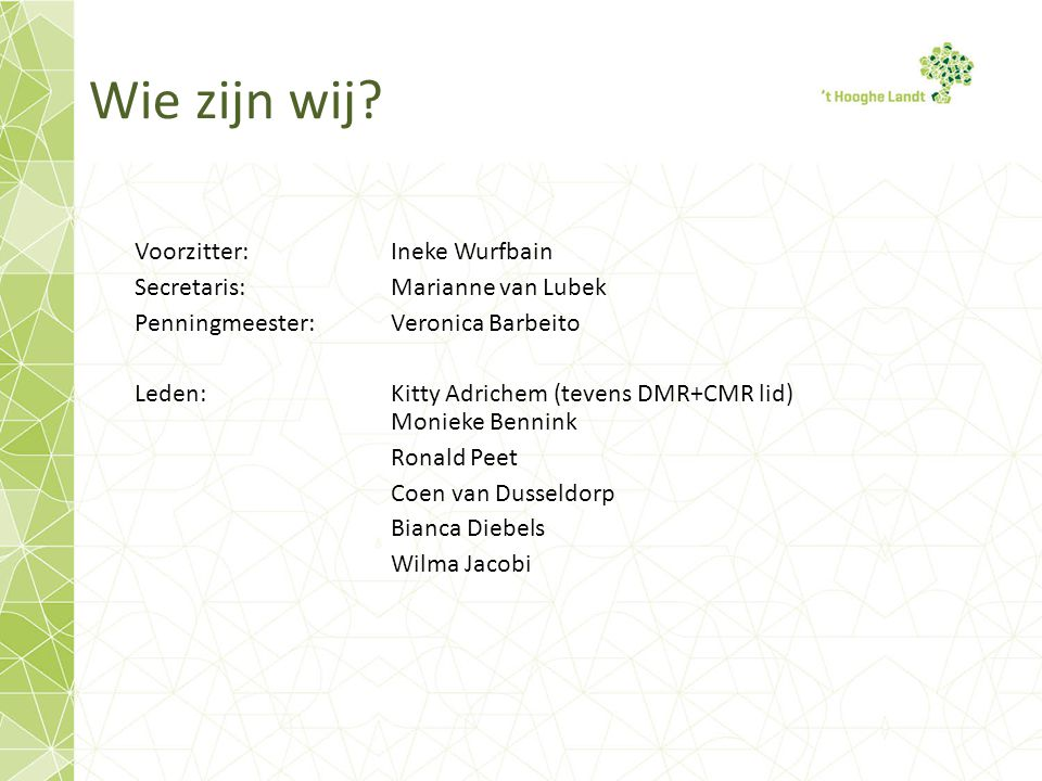 Wie zijn wij Voorzitter: Ineke Wurfbain