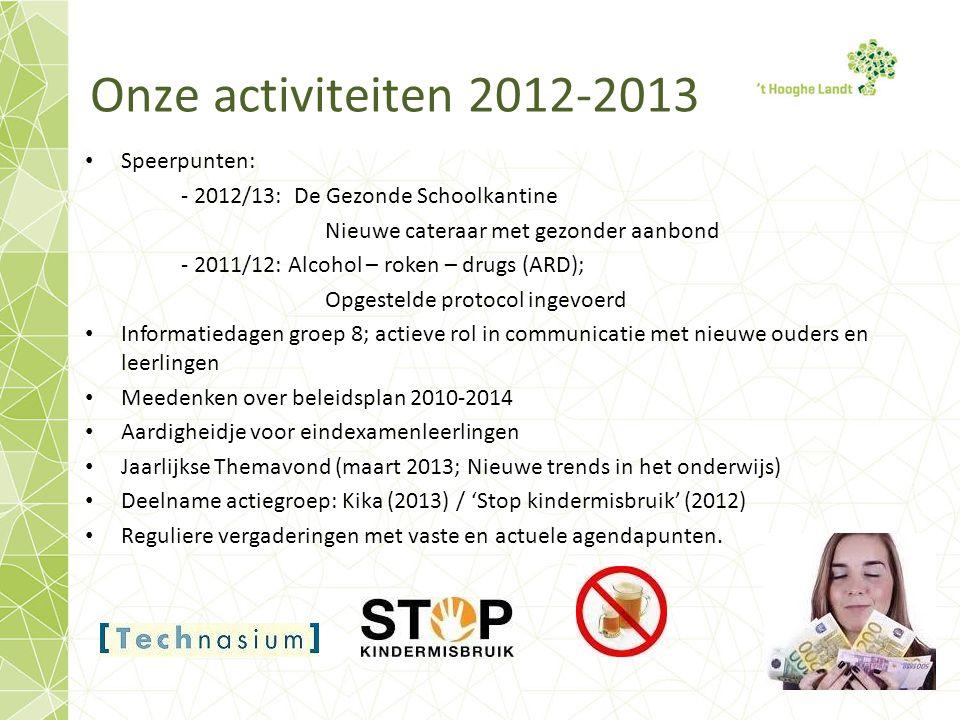 Onze activiteiten 2012-2013 Speerpunten: