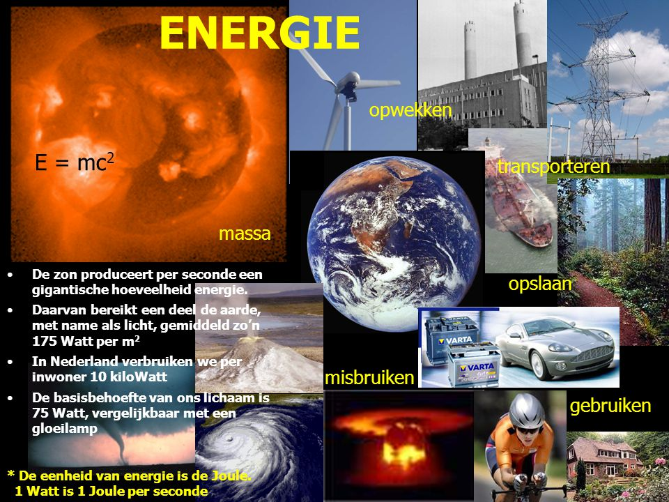 ENERGIE E = mc2 opwekken transporteren massa opslaan misbruiken