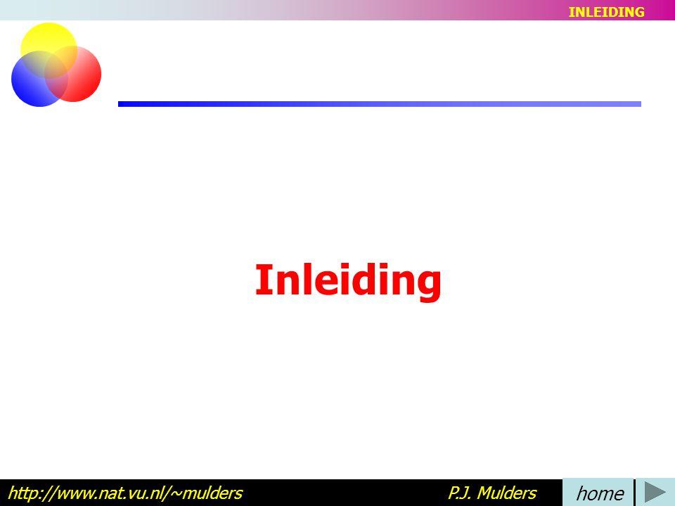 INLEIDING Inleiding. http://www.nat.vu.nl/~mulders P.J. Mulders.