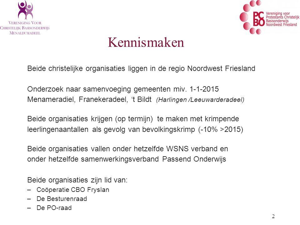 Kennismaken Beide christelijke organisaties liggen in de regio Noordwest Friesland. Onderzoek naar samenvoeging gemeenten miv. 1-1-2015.