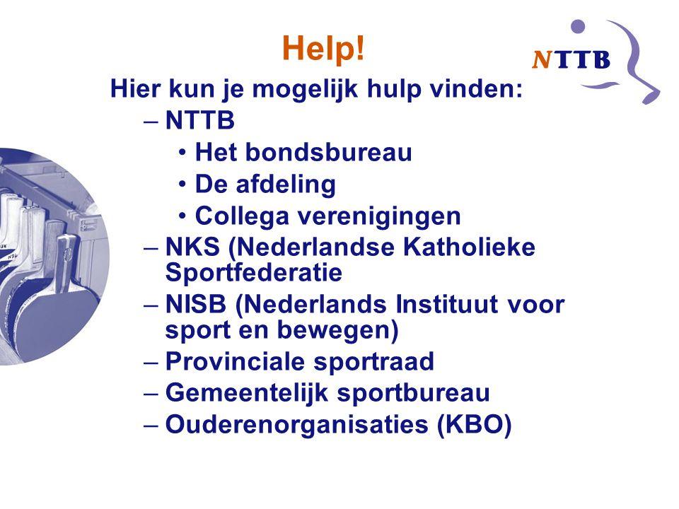Help! Hier kun je mogelijk hulp vinden: NTTB Het bondsbureau