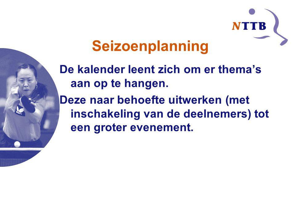 Seizoenplanning De kalender leent zich om er thema's aan op te hangen.