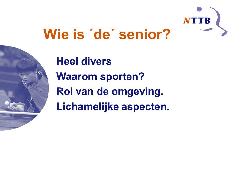 Wie is ´de´ senior Heel divers Waarom sporten Rol van de omgeving.