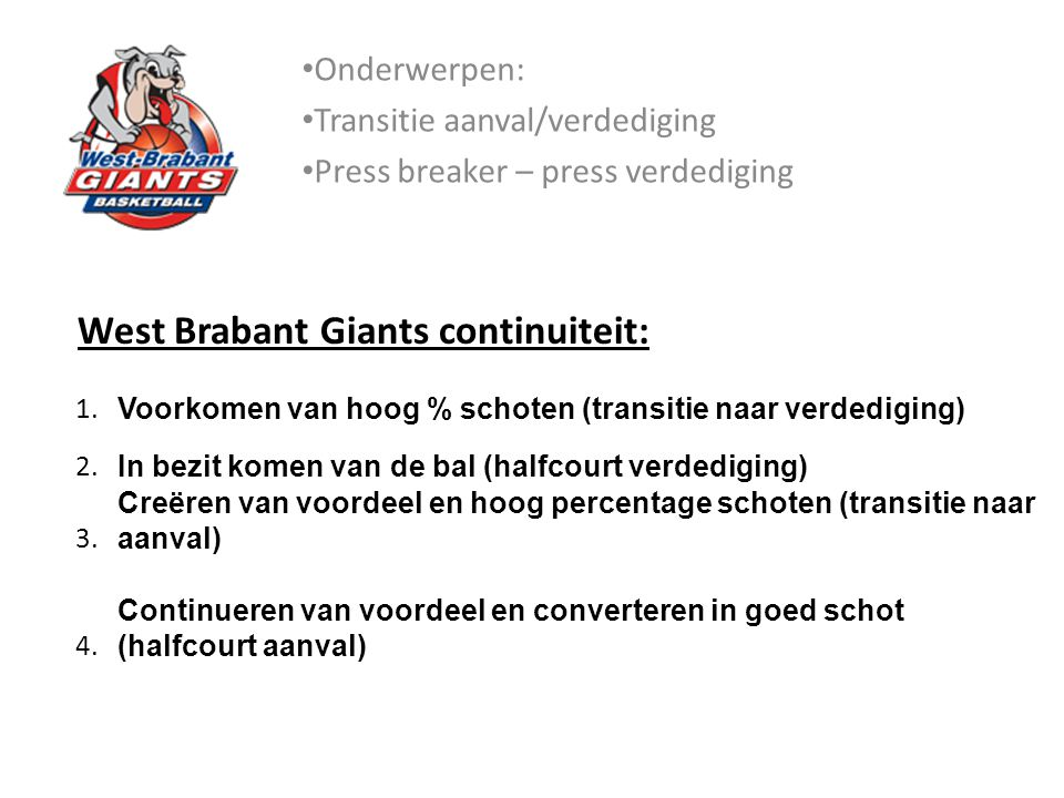 West Brabant Giants continuiteit: