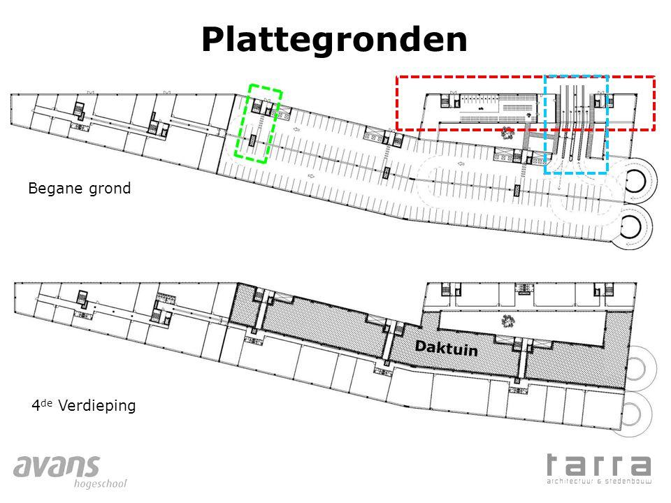 Plattegronden Begane grond Daktuin 4de Verdieping