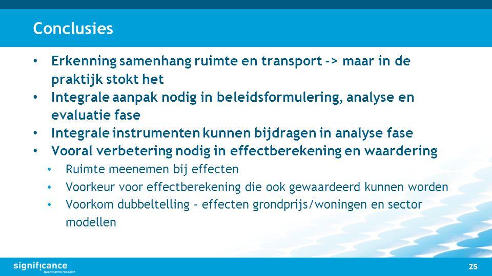 Conclusies Erkenning samenhang ruimte en transport -> maar in de praktijk stokt het.