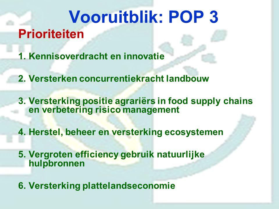 Vooruitblik: POP 3 Prioriteiten Kennisoverdracht en innovatie