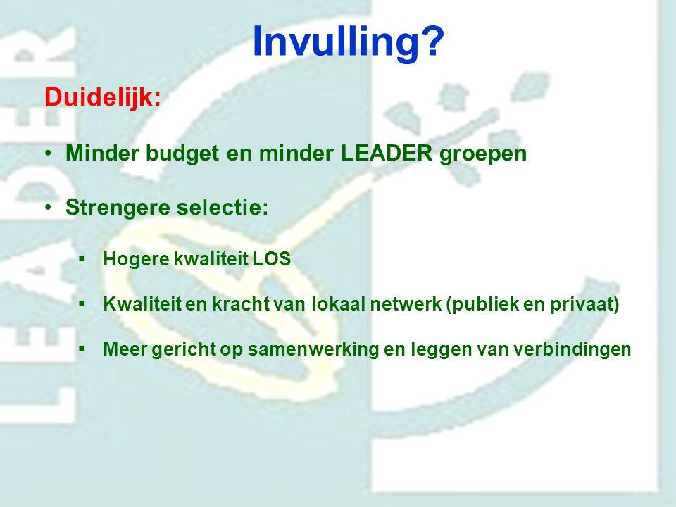 Invulling Duidelijk: Minder budget en minder LEADER groepen
