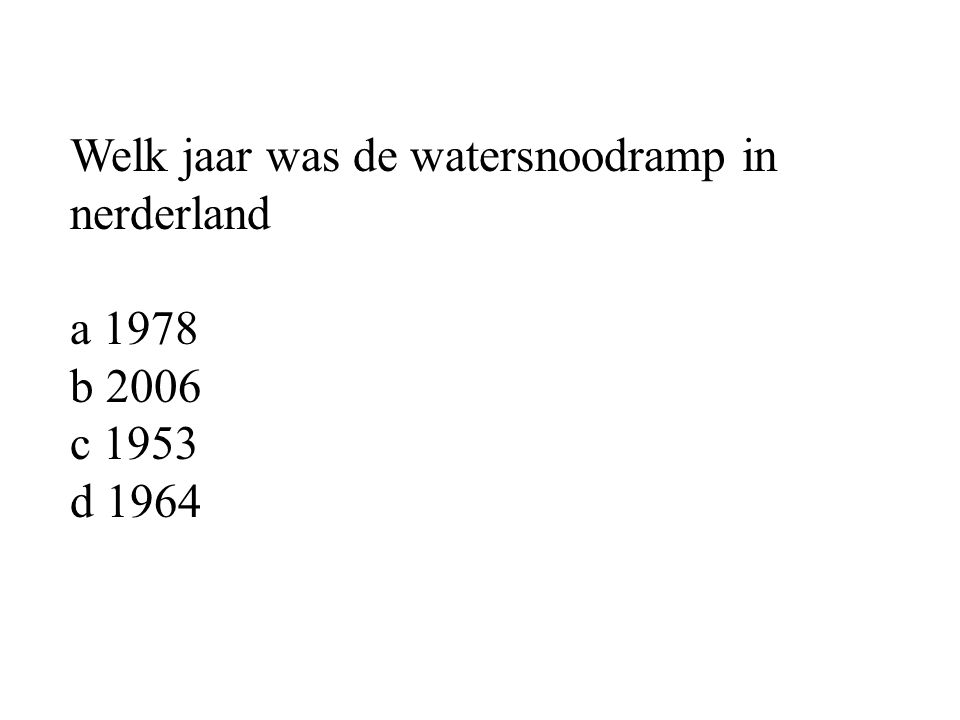 Welk jaar was de watersnoodramp in nerderland