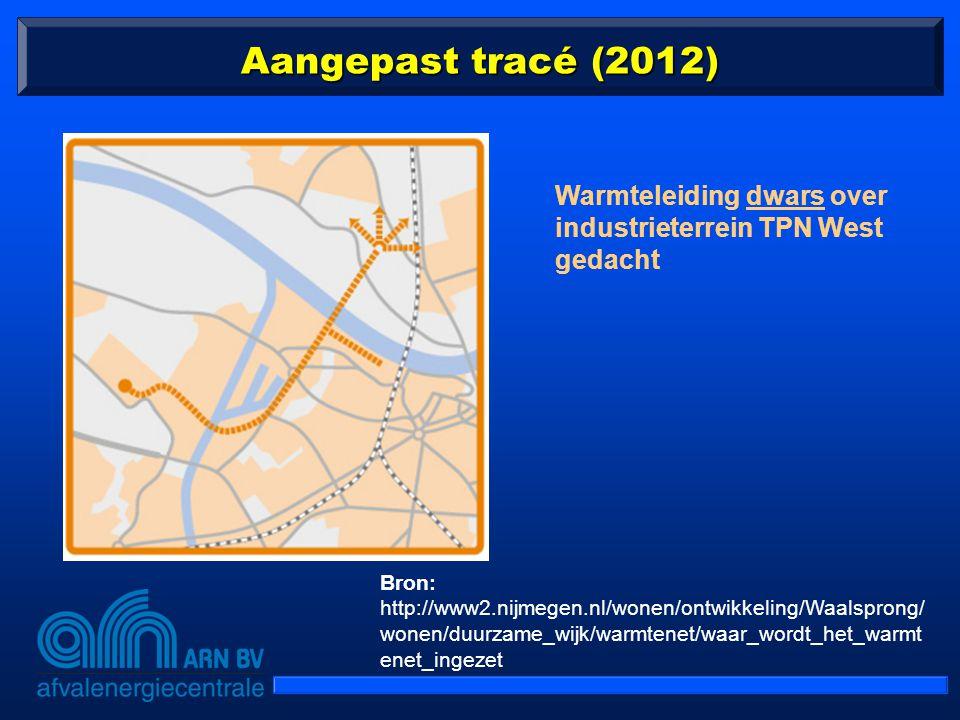Aangepast tracé (2012) Warmteleiding dwars over industrieterrein TPN West gedacht.