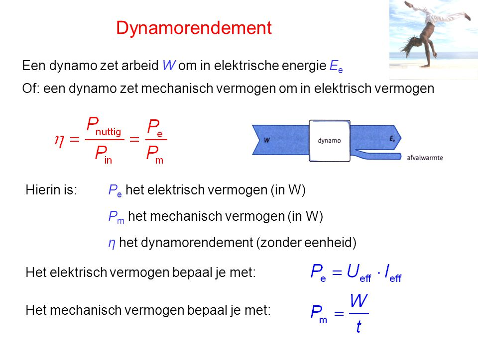 Dynamorendement Een dynamo zet arbeid W om in elektrische energie Ee