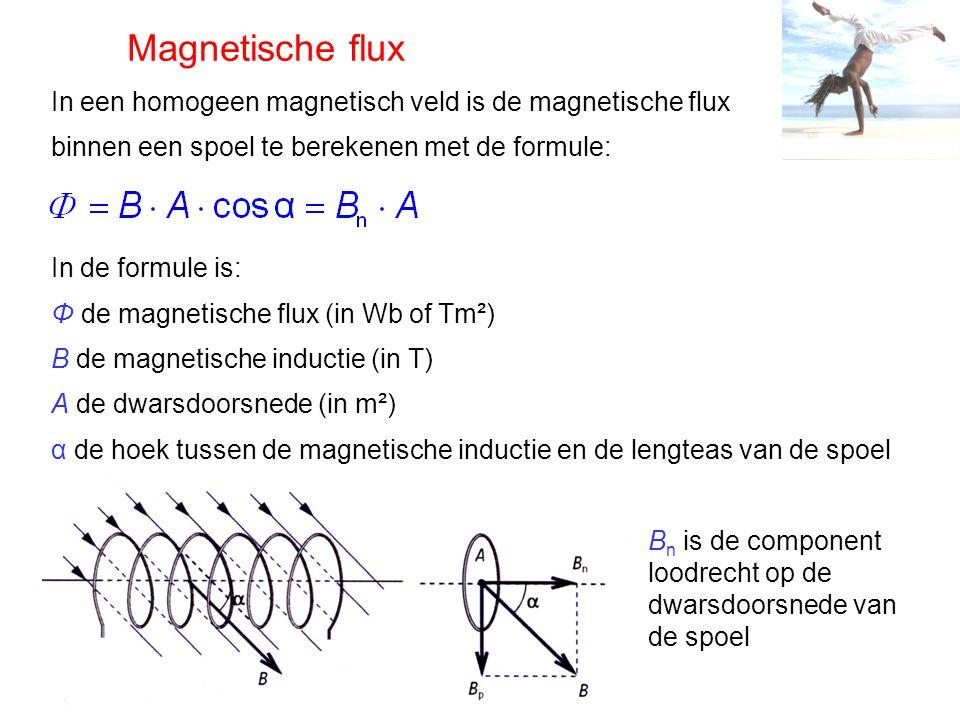 Magnetische flux In een homogeen magnetisch veld is de magnetische flux. binnen een spoel te berekenen met de formule: