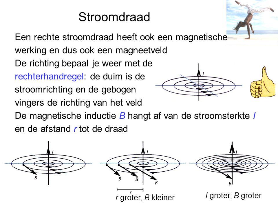 Stroomdraad Een rechte stroomdraad heeft ook een magnetische