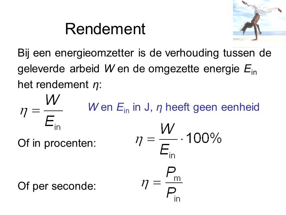Rendement Bij een energieomzetter is de verhouding tussen de