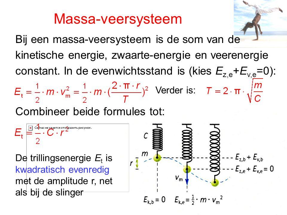 Massa-veersysteem Bij een massa-veersysteem is de som van de