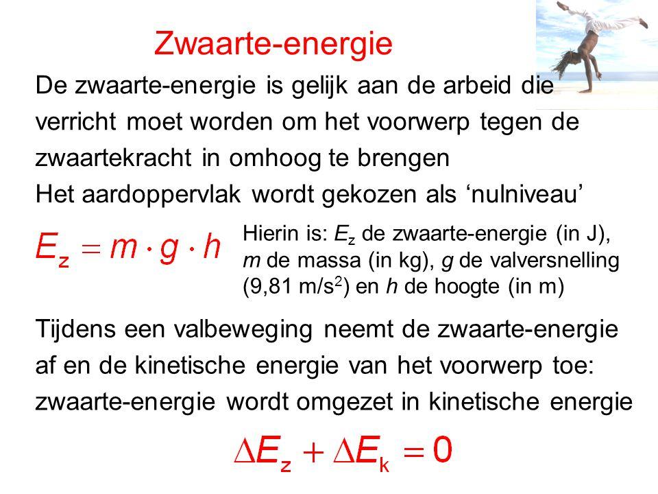 Zwaarte-energie De zwaarte-energie is gelijk aan de arbeid die